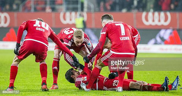 Players of FC Ingolstadt 04 celebrate the goal to 12 during the Bundesliga match between FC Ingolstadt 04 and SC Freiburg at Audi Sportpark on...