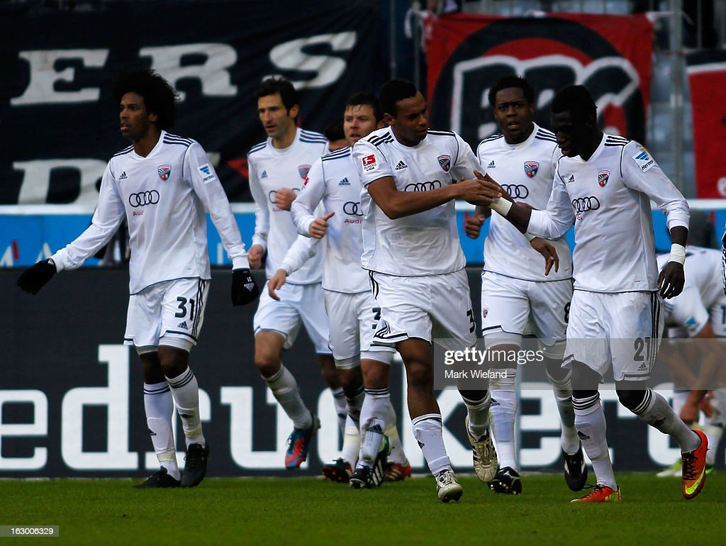 Players of FC Ingostadt celebrate their equalising goal during the Second Bundesliga League match between 1860 Muenchen and FC Ingostadt at Allianz Arena on March 3, 2013 in Munich, Germany.