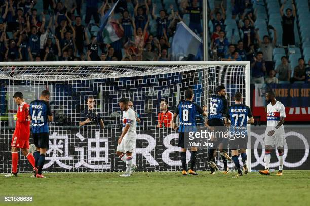 Players of FC Internationale celebrate after scoring first goal during the 2017 International Champions Cup football match between FC Internationale...