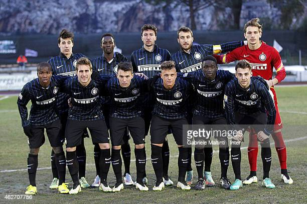 Players of FC Internazionale before the Viareggio juvenile cup match betwwen FC Internazionale and Genk at Stadio GBui on February 3 2015 in San...