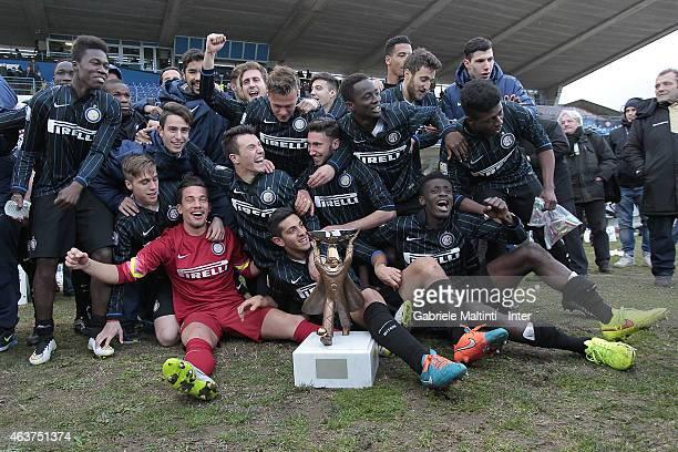 Players of FC Internazionale celebrates the victory after the Viareggio Juvenile Cup on February 16 2015 in Viareggio Italy