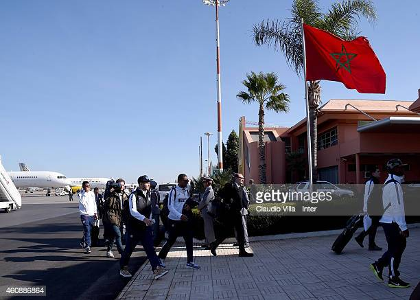 Players of FC Internazionale travels to Marrakech on December 29 2014 in Marrakech Morocco