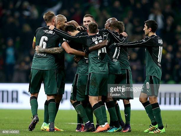 Players of FC Krasnodar celebrate after scoring a goal during the Russian Premier League match between FC Krasnodar v FC Zenit St Petersburg at the...