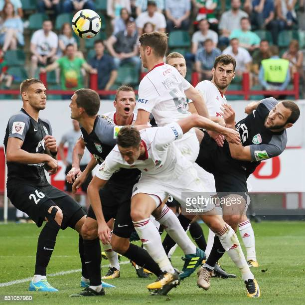 Players of FC Lokomotiv Moscow and FC Tosno Khabarovsk in action during the Russian Premier League match between FC Lokomotiv Moscow and FC Tosno at...