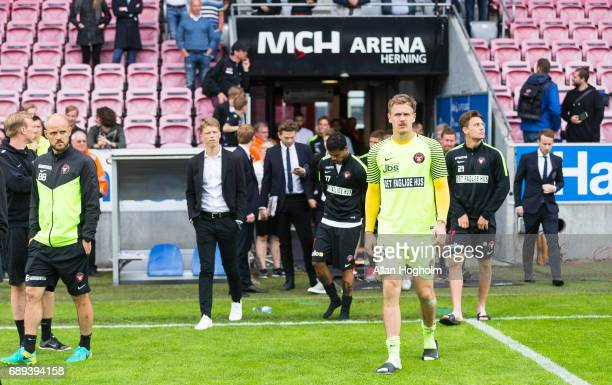Players of FC Midtjylland looks dejected after the Danish Alka Superliga match between FC Midtjylland and Lyngby BK at MCH Arena on May 28 2017 in...