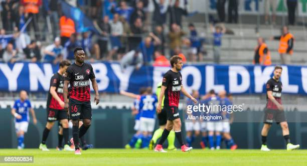 Players of FC Midtjylland looks dejected during the Danish Alka Superliga match between FC Midtjylland and Lyngby BK at MCH Arena on May 28 2017 in...