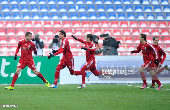 Players of FC Mordovia Saransk celebrate after scoring a goal during the Russian Premier League match between FC Mordovia Saransk and FC Anzhi...