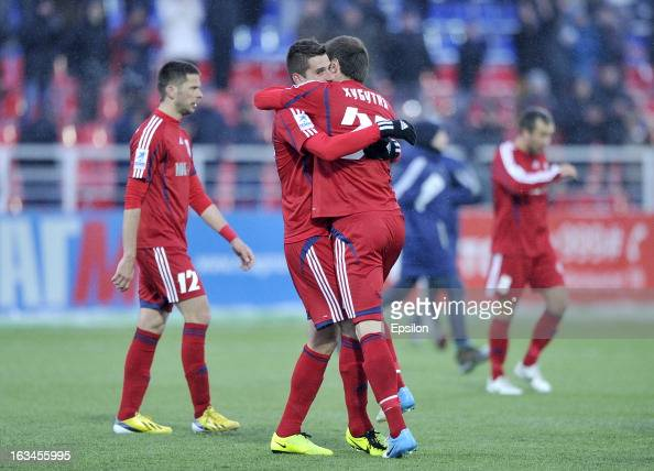 Players of FC Mordovia Saransk celebrate after their victory over FC Anzhi Makhachkala in the Russian Premier League match between FC Mordovia...