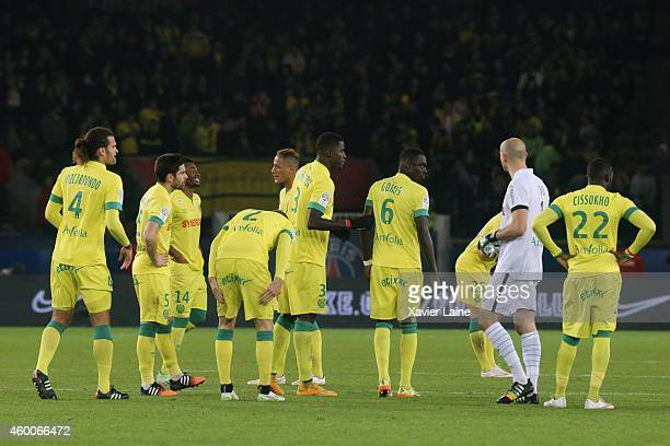 players of FC Nantes are dispointed after defeact during the French Ligue 1 between Paris SaintGermain FC and FC Nantes at Parc Des Princes on...