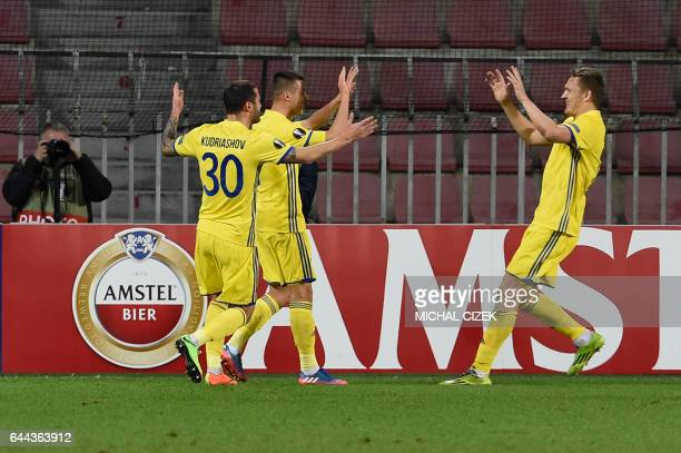 Players of FC Rostov celebrate after scoring during the UEFA Europa League round of 32 secondleg football match Sparta Prague v Rostov in Prague...