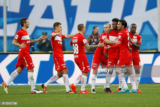 Players of FC Spartak Moscow celebrate a goal during the Russian Football League match between FC Zenit St Petersburg and FC Spartak Moscow at...