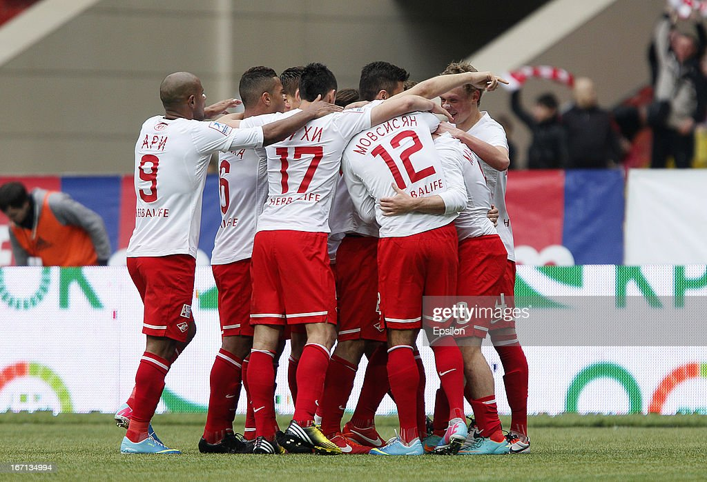 Players of FC Spartak Moscow celebrate after scoring a goal during the Russian Premier League match between PFC CSKA Moscow and FC Spartak Moscow at the Luzhniki Stadium on April 21, 2013 in Moscow, Russia.