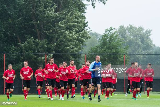 players of FC Twente at the warming upduring a training session at Trainingscentrum Hengelo on June 24 2017 in Hengelo The Netherlands