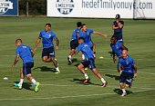 Players of Fenerbahce attend a training session prior to UEFA Champions League third preliminary lap match between Fenerbahce and Monaco at Can Bartu...