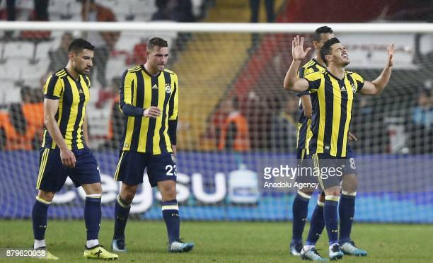 Players of Fenerbahce celebrate after winning the Turkish Super Lig match between Antalyaspor and Fenerbahce at Antalya Stadium in Antalya Turkey on...