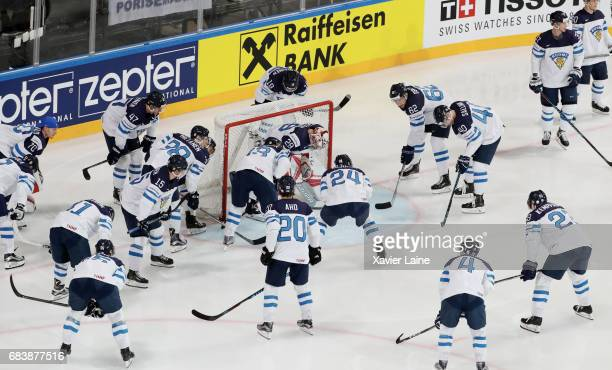 Players of Finland before the 2017 IIHF Ice Hockey World Championship game between Canada and Finland at AccorHotels Arena on May 16 2017 in Paris...