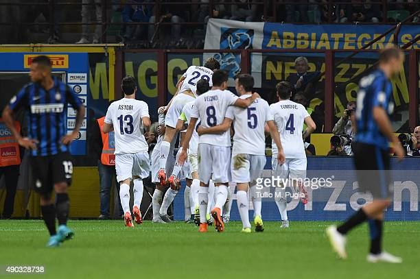 Players of Fiorentina celebrate their fourth goal during the Serie A match between FC Internazionale Milano and ACF Fiorentina at Stadio Giuseppe...