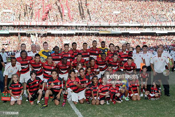 Players of Flamengo before a match as part of Rio de Janeiro State Championship 2011 at Engenhao stadium on May 01 2011 in Rio de Janeiro Brazil
