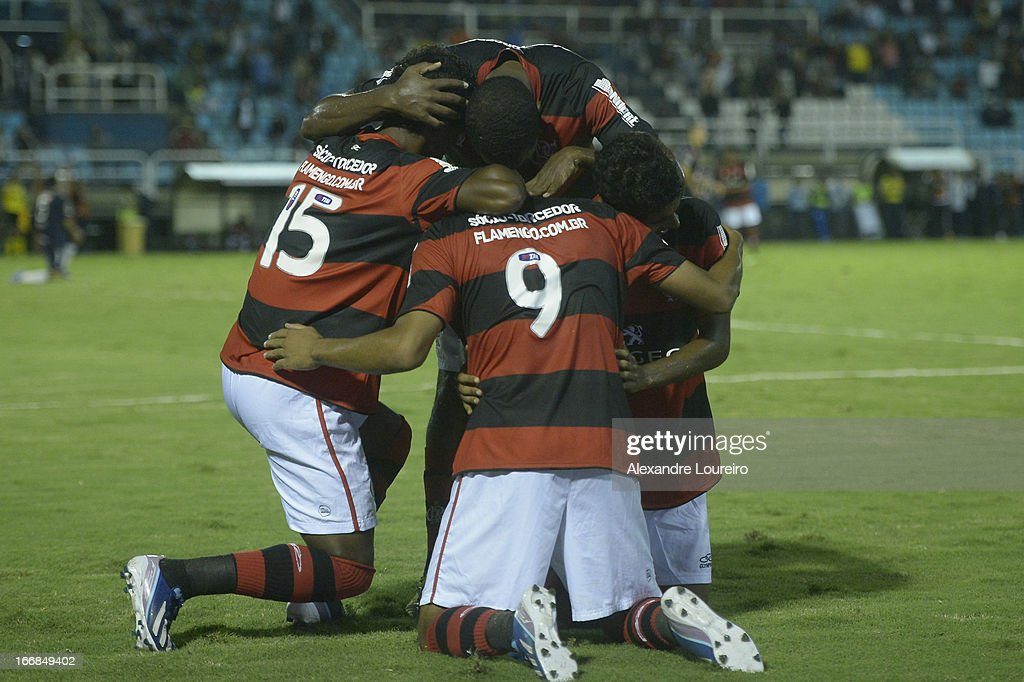 Players of Flamengo celebrate a goal during the match between Flamengo and Remo as part of Brazil Cup 2013 at Raulino de Oliveira Stadium on April 17, 2013 in Rio de Janeiro, Brazil.