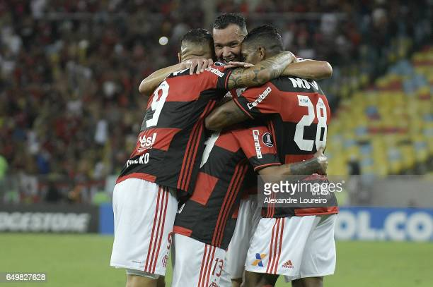 Players of Flamengo celebrates a scored goal by Miguel Trauco during the match between Flamengo and San Lorenzo as part of Copa Bridgestone...