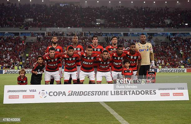 Players of Flamengo pose for photo before a match between Flamengo and Bolivar as part of Copa Bridgestone Libertadores 2014 at Maracana Stadium on...