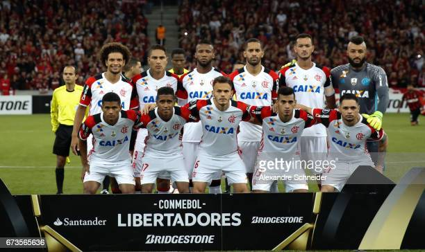 Players of Flamengo pose for photo before the match between Atletico PR of Brazil and Flamengo of Brazil for the Copa Bridgestone Libertadores 2017...