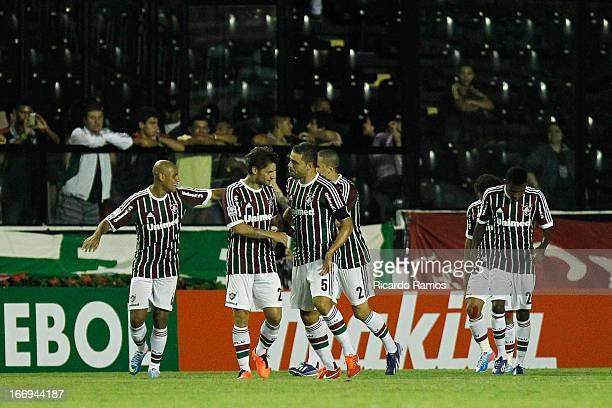 Players of Fluminense celebrate a goal during the match between Fluminense and Caracas as part of Copa Bridgestone Libertadores 2013 at São Januário...