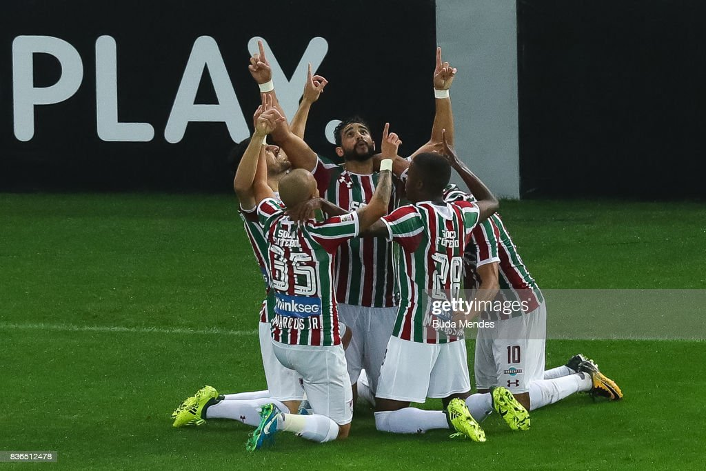 Players of Fluminense celebrate a scored goal against Atletico MG during a match between Fluminense and Atletico MG part of Brasileirao Series A 2017 at Maracana Stadium on August 21, 2017 in Rio de Janeiro, Brazil.