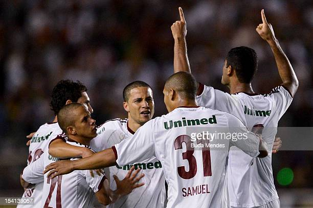Players of Fluminense celebrate a scored goal against Ponte Preta during a match between Fluminense and Ponte Preta as part of the brazilian...
