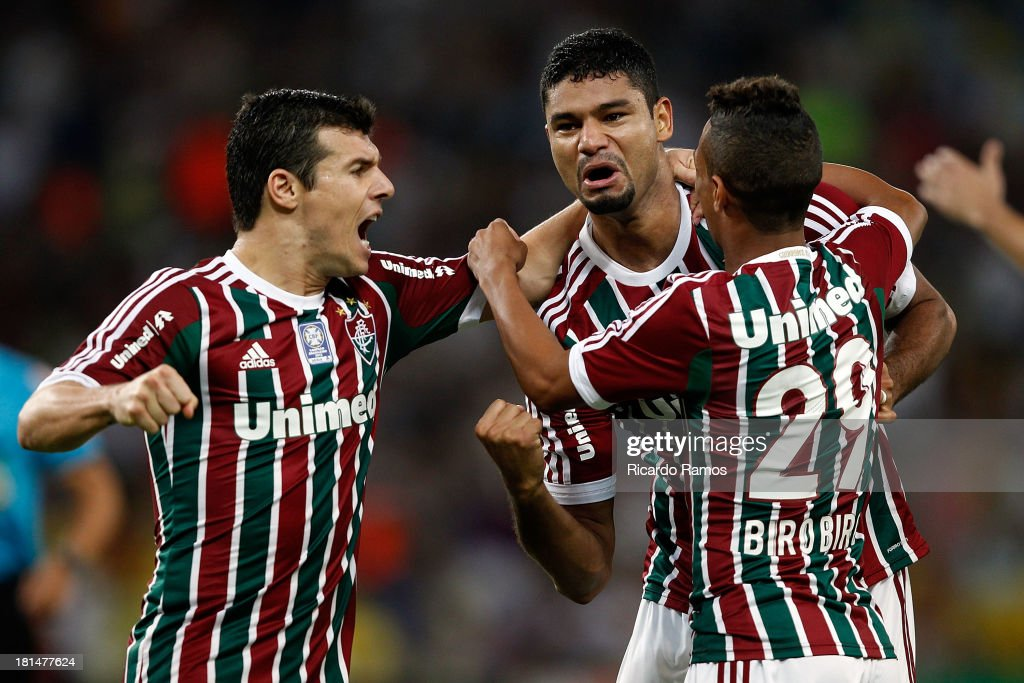 Players of Fluminense celebrate a scored goal during the match between Fluminense and Coritiba for the Brazilian Series A 2013 at Maracana on September 21, 2013 in Rio de Janeiro, Brazil.