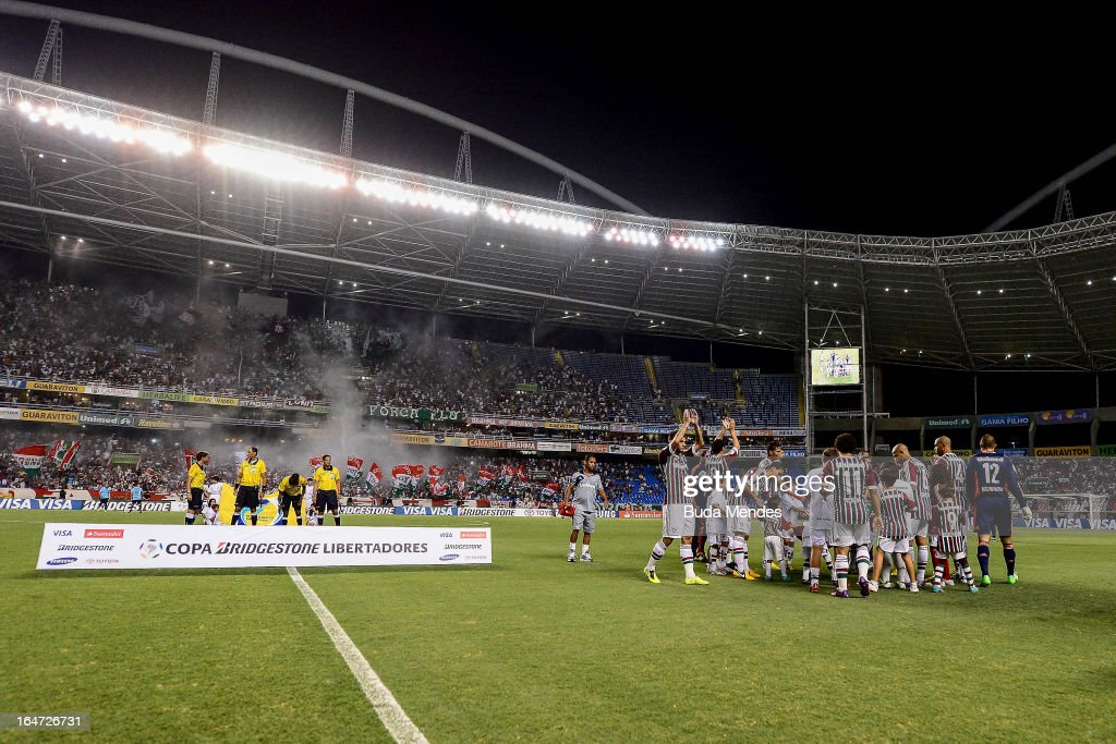 Players of Fluminense g reet their fansd prior to a match between Fluminense and Gremio as part of the Copa Libertadores 2013 at Joao Havelange...