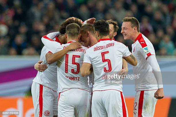 Players of Fortuna Duesseldorf celebrate a goal during the Telekom Cup 2017 at EspritArena on January 14 2017 in Duesseldorf Germany
