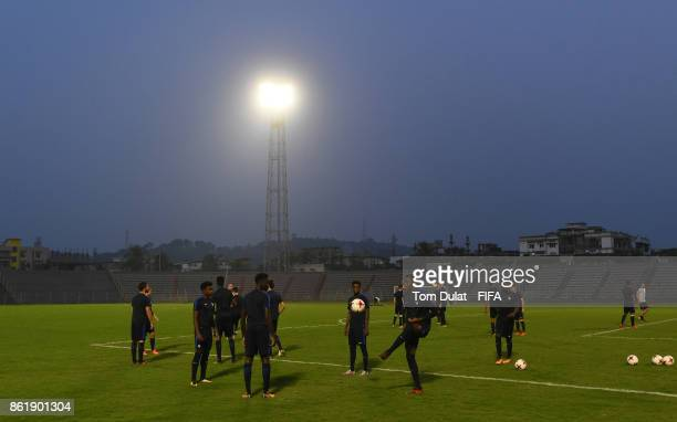 Players of France attend a training session ahead of the FIFA U17 World Cup India 2017 tournament on October 16 2017 in Guwahati India