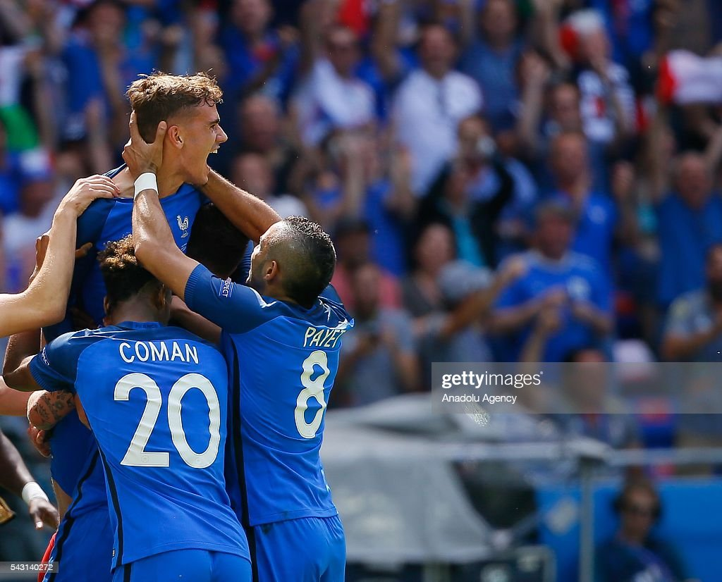 Players of France celebrate after scoring a goal during the UEFA Euro 2016 Round of 16 football match between France and Ireland at the Stade de Lyon in Lyon, France on June 26, 2016.