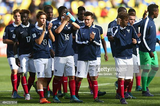 Players of France celebrate after the FIFA U17 World Cup Chile 2015 Group F match between France and Syria at Estadio Municipal de Concepcion on...