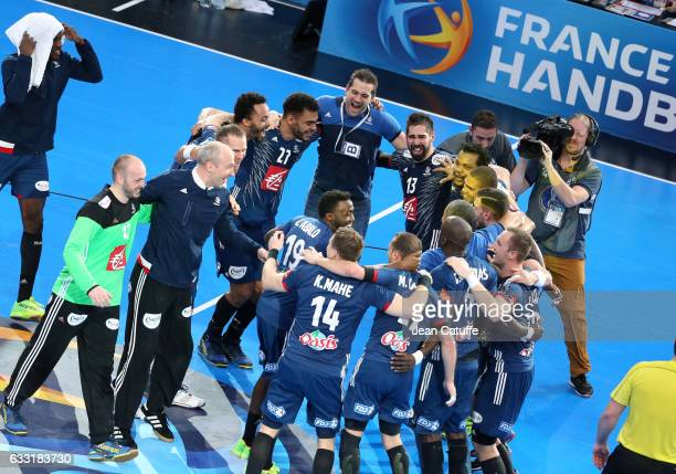 Players of France celebrate the victory at final whistle following the 25th IHF Men's World Championship 2017 Final between France and Norway at...