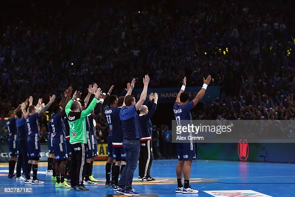Players of France celebrate with the fans after the 25th IHF Men's World Championship 2017 Semi Final match between France and Slovenia at...