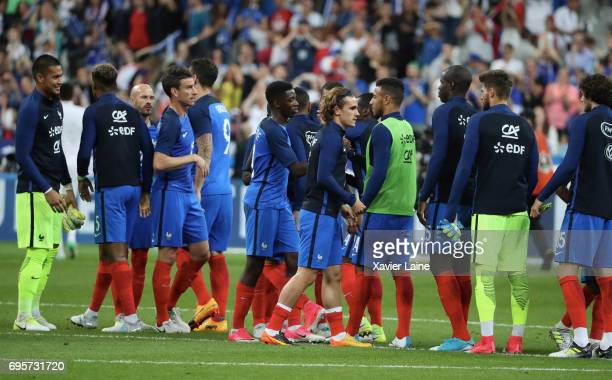 Players of France celebrates the victory after the International Friendly match between France and England at Stade de France on June 13 2017 in...