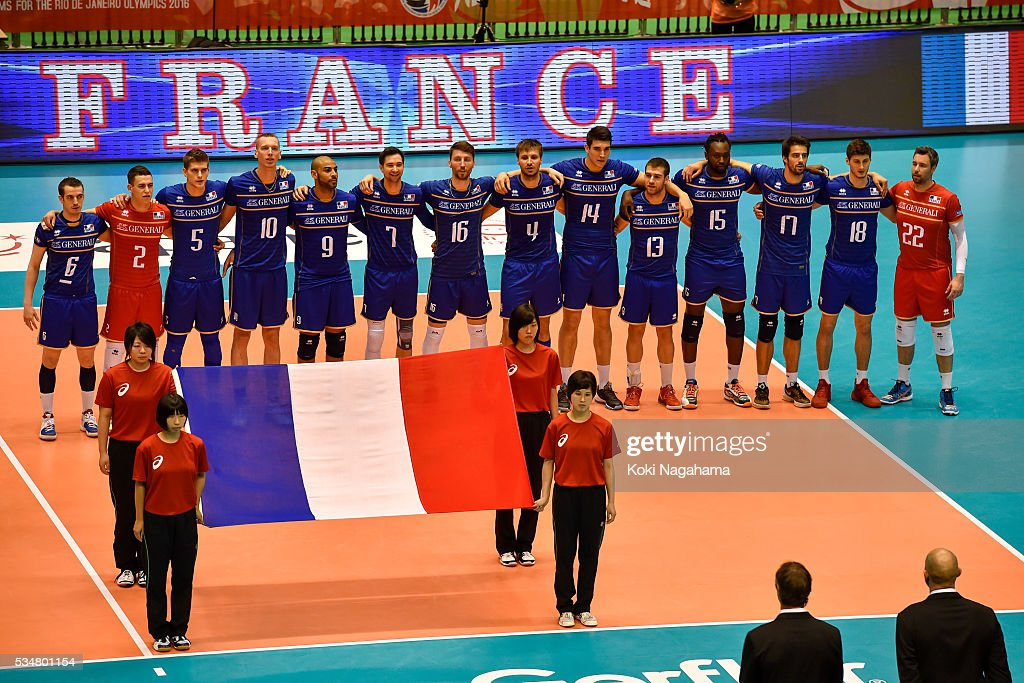 Players of France line up for their national anthem prior to the Men's World Olympic Qualification game between China and France at Tokyo Metropolitan Gymnasium on May 28, 2016 in Tokyo, Japan.