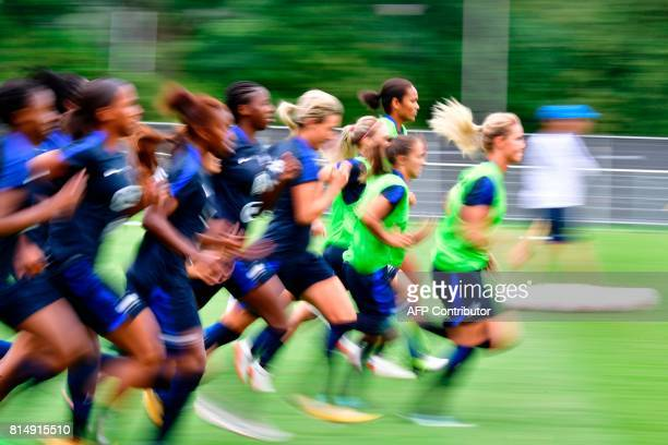Players of France's national soccer team take part in a training session ahead of the UEFA Women's Euro 2017 football tournament in Zwijndrecht on...