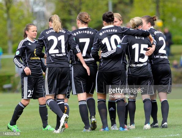 Players of Frankfurt celebrates after Dzsenifer Marozsan is scoring her teams first goal during the UEFA Women's Champions League Semi Final match...