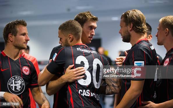 Players of Frankfurt hug each other prior to the Bundesliga match between Eintracht Frankfurt and FC Augsburg at CommerzbankArena on August 22 2015...