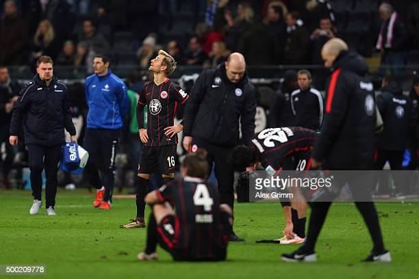 Players of Frankfurt react after the Bundesliga match between Eintracht Frankfurt and SV Darmstadt 98 at CommerzbankArena on December 6 2015 in...