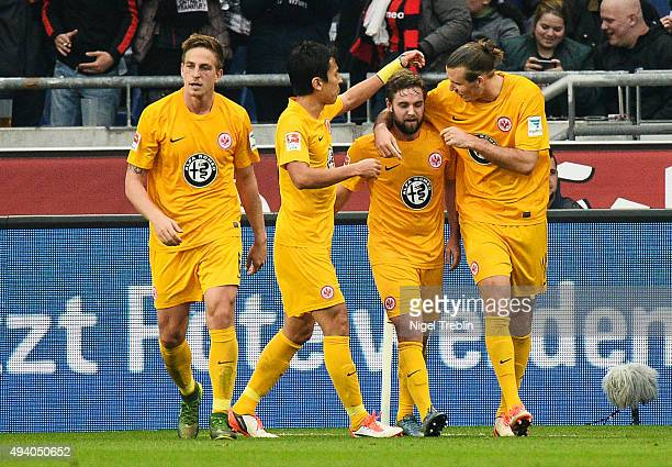 Players of Frankfurt react after the second goal of frankfurt during the Bundesliga match between Hannover 96 and Eintracht Frankfurt at HDIArena on...