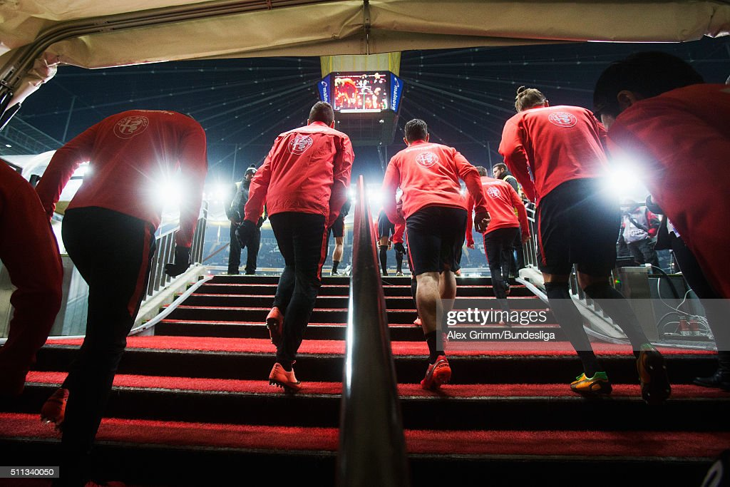 Players of Frankfurt walk out of the tunnel to warm up for the Bundesliga match between Eintracht Frankfurt and Hamburger SV at CommerzbankArena on...
