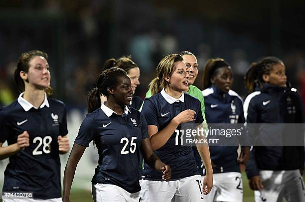 Players of French women's national football team celebrate their victory against Russia at the end of the friendly football match France vs Russia on...