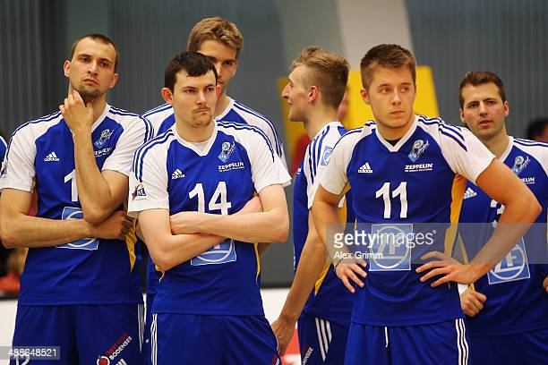 Players of Friedrichshafen react after losing game four of the DVL Volleyball Playoff Finals between VfB Friedrichshafen and Berlin Recycling Volleys...
