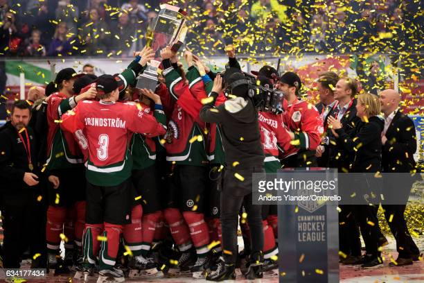 Players of Frolunda Gothenburg celebrates after winning the Champions Hockey League Final between Frolunda Gothenburg and Sparta Prague at...