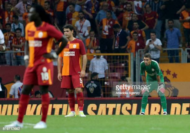 Players of Galatasaray get upset after the penalty goal of Ostersunds during the UEFA Europa League second qualifying round return match between...