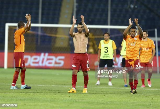 Players of Galatasaray greet supporters after the Turkish Super Lig soccer match between Osmanlispor and Galatasaray at the Osmanli Stadium in Ankara...